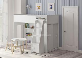 Кровать чердак Легенда 42.5.1 со шкафом-купе