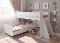 Двухъярусная кровать выкатная Легенда 23.3 белая