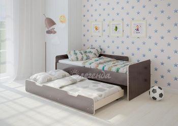 Детская выдвижная двухъярусная кровать Легенда 14.2