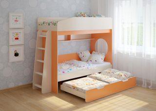 Трехъярусная выдвижная детская кровать Легенда 10.4