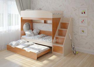 Трехъярусная выдвижная детская кровать Легенда 10.5