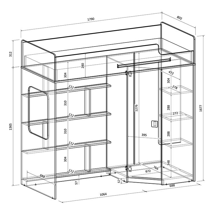 Кровать чердак со шкафом и столом
